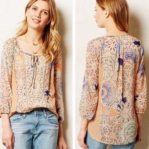 Anthropologie Peasant Top with Crochet Detail
